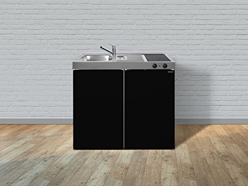 Stengel Miniküche Single Küche 100cm Metall Becken rechts MK100 schwarz Glanz