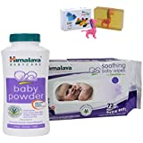 Himalaya Herbals Baby Powder (100g)+Himalaya Herbals Soothing Baby Wipes (72 Sheets) With Happy Baby Luxurious Kids Soap With Toy (100gm)