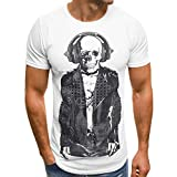 KUDICO Herren Tops T-Shirt Lässige Pullover Druck Skull Shirt Kurzarm Sportbekleidung Bluse(Weiß, Small)