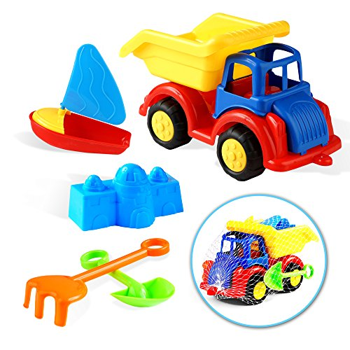 6 Piezas Juguetes de Playa - Camión de Juguetes con un Bote,...