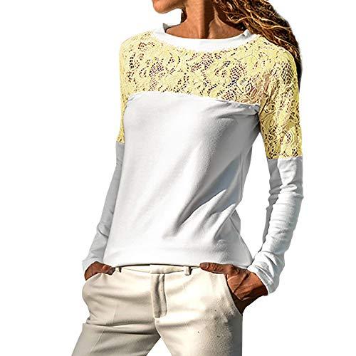KUDICO Damen Tops Blusen-Tunika-Sweatshirt Langarm Spitzenbesatz aushöhlen lose T-Shirt Pullover(Gelb, EU-40/CN-XL)