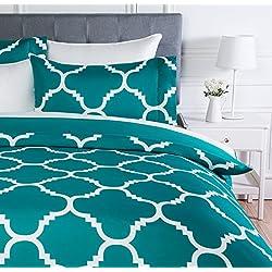 AmazonBasics - Juego de ropa de cama con funda de edredón, de microfibra, 260 x 220 cm, Cerceta celosía (Teal Trellis)