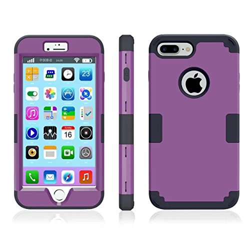 iPhone 7 plus hülle, Lantier 3 in 1 [weicher harter Tough Case] [Anti Scratch] [Stoßdämpfung ] Leichte Schlank Voll Body Armor Schutzhülle für iPhone 7 Plus (5,5 Zoll) Mint Green + Grau Dark Purple+Black