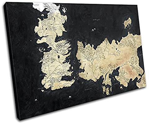 Bold Bloc Design - Map Game of Thrones Movie Greats 90x60cm SINGLE Canvas Art Print Box Framed Picture Wall Hanging - Hand Made In The UK - Framed And Ready To Hang