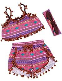 or trésor bébé les filles 3-piece sling gilet maxi + culottes courtes summer décontracté de courtes séries avec coiffure