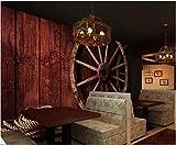 YUANLINGWEI Benutzerdefinierte Tapete Tapete Kreative Weinlese-Holzbrett Radmuster Restaurant Rote Hintergrund Wanddekoration Seidentapete Tapete Weinkeller,190Cm (H) X 270Cm (W)
