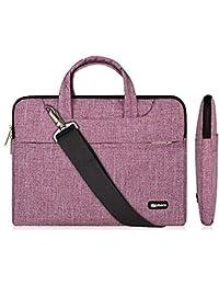 Qishare 13.3-14 Inch Laptop Bag,Multifunctional Fabric Laptop Case,Portable Sleeve Briefcase,Adjustable Shoulder Strap&Suppressible Handle(purple lines,13.3)