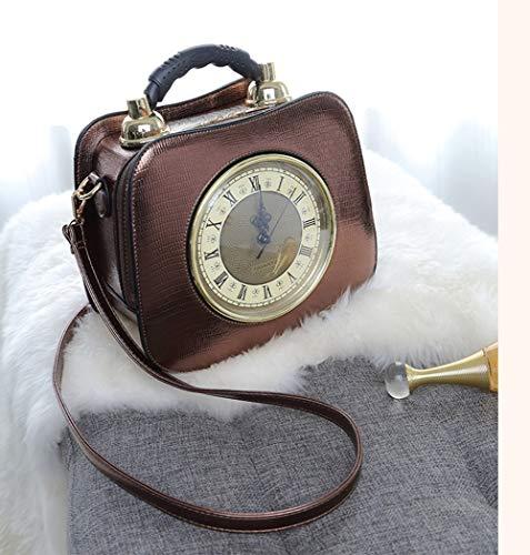CMDDYY Persönlichkeit kreative Uhr kleine Rundtüte, europäische und amerikanische Mode Damentasche Schulter Damen Handtasche,Bronze