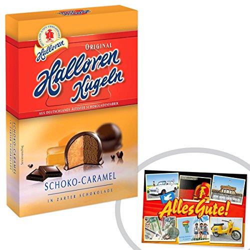 Halloren Kugeln Schoko Caramel 125g | INKL DDR Geschenkkarte | Ossi Artikel | Ideal für jedes DDR Geschenkset | DDR Traditionsprodukt und Ossi Kultprodukt | Ossi Produkte
