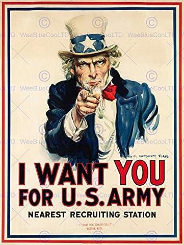 PROPAGANDA WAR WWI USA UNCLE SAM WANT YOU ARMY ICONIC ART PRINT POSTER AFFICHE 30X40 CM 12X16 IN BB7145B