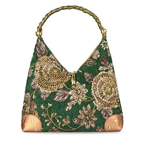 2017 Winter Blume Stickerei Tasche Retro Stil Tasche Perle Bestickte Handtasche Einzelner Schulterbeutel Weiblichen Beutel Vintage (Grün) (Blumen-seide Tasche)