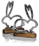 com-four® 2X Coniglietto Decorativo per Pasqua - Coniglietto di Pasqua in Metallo da Mettere Giù - Coniglietto di Metallo su Base di Legno in Argento (02 Pezzi - Grande Coniglio in Metallo)