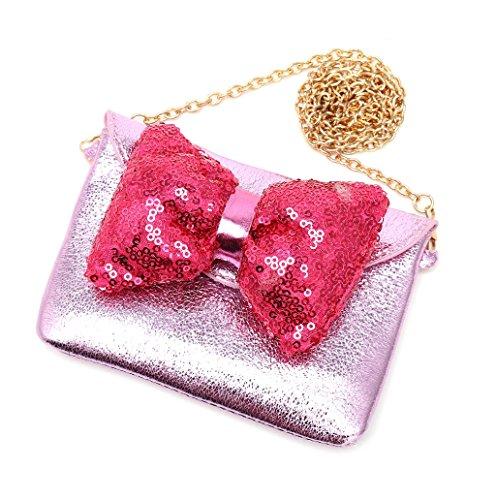 Dairyshop Borsa della catena del metallo della principessa bambini del bambino del bambino della spalla del bowknot del bambino (Rosa) Rosa