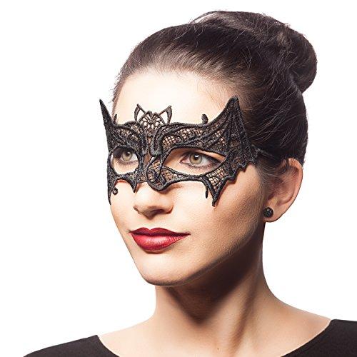 Venezianische Maske FLEDERMAUS - Augenmaske aus Stoff Spitze für Damen - Halloween Fasching Karneval (Batgirl Frauen Für Kostüm)