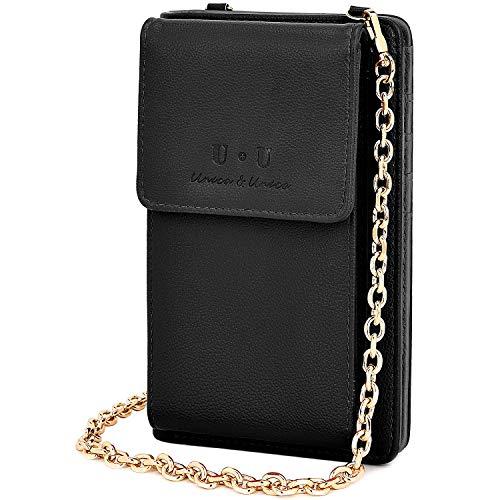 U+U (2019 Version RFID-blockierende Schultertasche aus Leder mit Kette für Reisen, Schwarz - Schwarz - Größe: Small