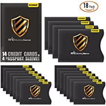 RFID Blocking Sleeves, Kollea 18 Pack RFID Credit Card Protector in Waterproof and Tearproof, Credit Card Protector Sleeve for Privacy and Property Safety [14 Credit Card Sleeves & 4 Passport Sleeves]