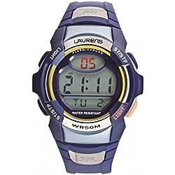 Laurens Herren Digital Armbanduhr 026950bb blau Chrono Silikon Timer Wecker