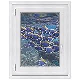 Fensterfolie - Fensterbild | hochwertige Fenster-deko - Folie für Fenster | dekorativer Fenstersticker - Fensteraufkleber | statisch haftende PVC-Sticker | Fensterfolie 50 x 70 cm - Fish swarm