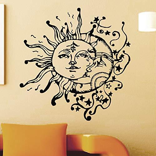 wukongsun Kreative spezielle Wandaufkleber Wohnzimmer verträumt einzigartige Möbel Sonne und Mond Wandaufkleber doppelseitiges Gesicht Muster Wandbild schwarz 57x57cm -