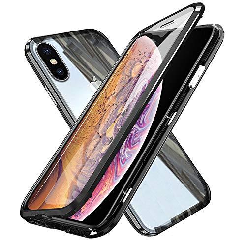WindCase iPhone XS Max Hülle, 360 Grad Komplettschutz Metall Bumper mit Magnetischer Adsorptionskasten +Transparent Gehärtetes Glas Ganzkörper-Koffer Schutzhülle für iPhone XS Max Schwarz