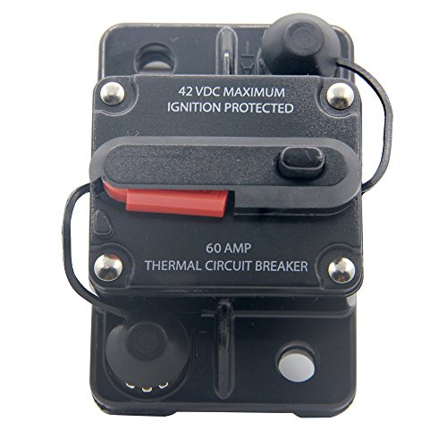 RKURCK 12V- 42VDC 60A Manual Reset Circuit Breaker,Fuse holder for Car Automotive Marine Boat Audio 60Amp
