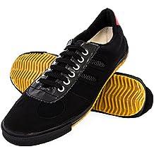 Wu designs - Feiyue -Wushu - Zapatillas minimalistas blancas de parkour/artes marciales, negro, 46