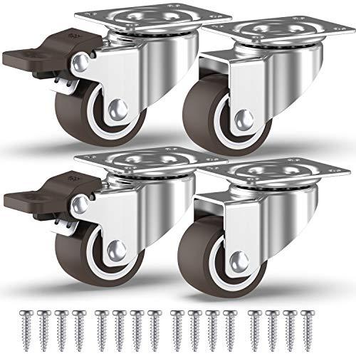 GBL - 4 Möbelrollen und Schrauben 25mm Transportroller Lenkrollen mit Bremse Schwerlastrollen Rollen für Möbel ... (25mm)