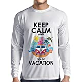 N4442L Camiseta de Manga Larga Keep Calm and Go to Vacation (XXX-Large Blanco