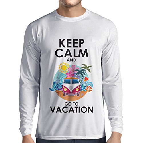 N4442L Camiseta de manga larga Keep Calm and Go to Vacation (X-Large Blanco Multicolor)