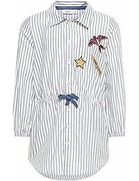 Name it 13144019 Nitgemilla Hemdbluse Blusenkleid mit Streifen und Aufnähern Weiß Gr. 104