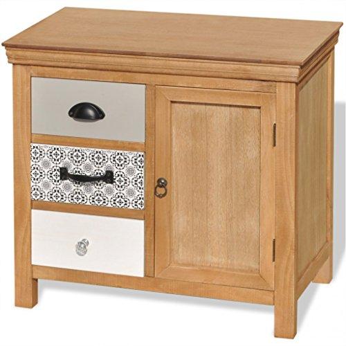 Festnight Massivholz Sideboard mit 3 Schubladen und 1 Tür 65x35x60cm als Lowboard Telefonschrank Seitenschrank - Braun