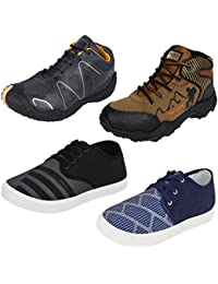 Bersache Men Combo Pack of 4 (Casual With Loafers & Maccosins & Sports Shoes)