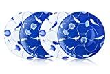ZENS Lifestyle Dinner Plates Set of 4 Bone China 10 inch Dinnerware Set 2 White and 2 Blue Flower and Fish Continuing Pattern