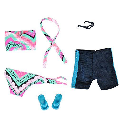 E-TING Fashionista Outfit 2 sets Doll Accessories Bikini Swimsuit Bathing Suit Swimming Shorts Pack fit for Dolls (Swimming Pink Geometry)(doll not include)
