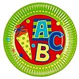 Amakando Pappteller Schuleinführung - 23 cm - 8 STK. Teller Deko Einschulung ABC Schütze Einwegteller Schulanfänger Papierteller Tischdeko 8 STK. Teller Deko Einschulung