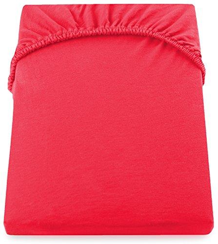 DecoKing 19009 80x200-90x200 cm Spannbettlaken rot 100% Baumwolle Jersey Boxspringbett Spannbetttuch Bettlaken Betttuch red Nephrite Collection - 5