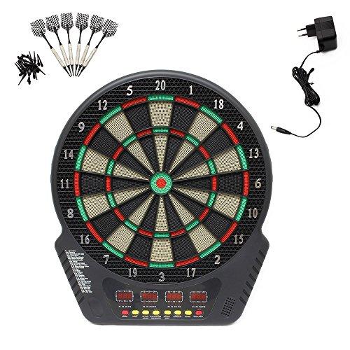 Elektrisches Dartboard Elektronische Dartscheibe LCD Scheibe mit Schutzhülle 6 Dartpfeile mit Dartpfeile Netzadapter für 1-16 Spieler