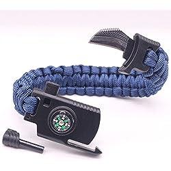 MYJ Parapluie Corde Bracelet Couteau Outdoor feu Couteau Multi-Fonction Main Corde Camping Survie en Plein air Aventure Bracelet d'urgence Bracelet,Marine,A