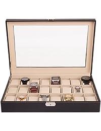 TRESKO® Uhrenbox für 24 Uhren Uhrenkasten Uhrenschatulle Uhrenkoffer Uhrenaufbewahrung aus Kunstleder, schwarz