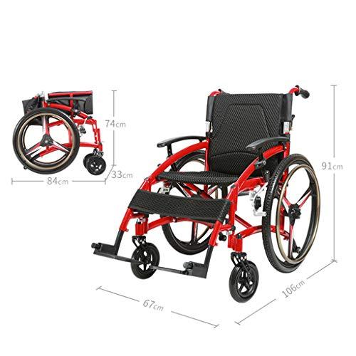 Festiveasd Sport- und Freizeitrollstühle, tragbarer Rollstuhl mit Eigenantrieb, Leichtgewichtiger Aluminium-Klapp-Transit-Reiserollstuhl für Erwachsene mit Kissen und Reisetasche (Klapp-wagen Original)