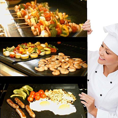 51Z4J3J6FzL - EXTSUD BBQ Grillmatten, 5er Set BBQ Antihaft Grill-und Backmatte Wiederverwendbar PFOA-Frei - Toll über Kohle, Gas und Weber Style Grills - Perfekt für Fleisch, Fisch und Gemüse 40x33 cm MEHRWEG