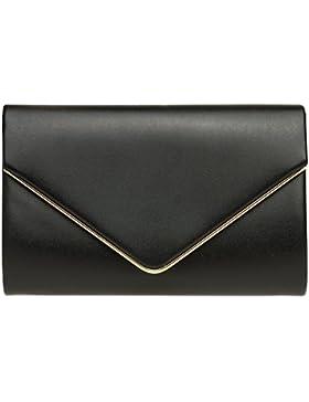 CASPAR TA373 Damen elegante Envelope Clutch Tasche / Abendtasche mit langer Kette