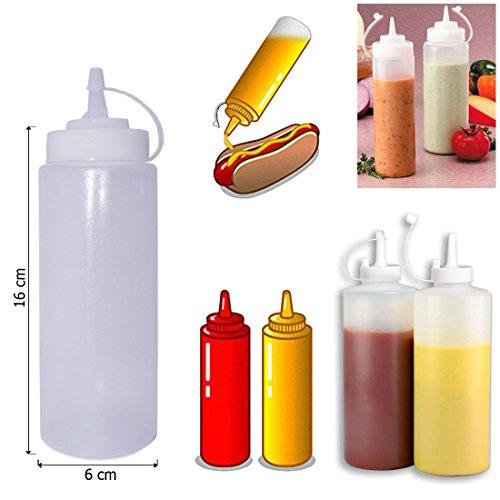 Blanc en plastique transparent-Lot de 6Squeeze Bouteille à condiments Distributeur de ketchup moutarde Chili mayonnaise Sauce Vinaigre Bouteilles Couvercle Bouchon, Transparent, 12 Oz / 375ml