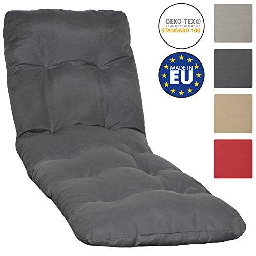 Beautissu Auflage für Garten-Liege Flair RL 190x60x8cm Sitz-Polster für Sonnenliege Schaumflocken-Füllung Graphit-Grau