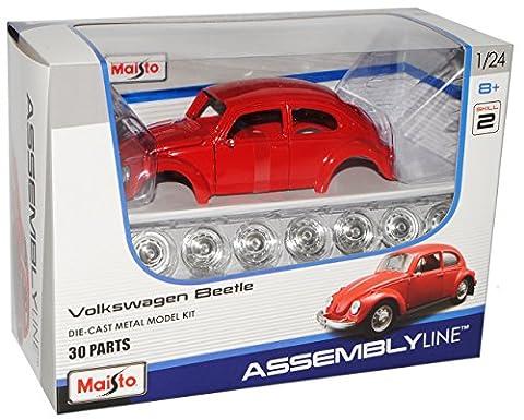 VW Volkswagen Käfer Coupe Rot Bausatz Kit 1/24 Maisto Modell Auto mit individiuellem
