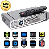 Foluu Mini Video Projector DLP 3D Portable Projector Support 1080P 4K Decoding 500 ANSI Lm Bluetooth HDMI USB TF Card For Home Cinema IPhone Android Wireless Screen Share Auto Keystone Correction