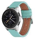 WFEAGL Compatible avec Bracelet Samsung Galaxy Watch 42mm/Gear S2 Classic/Gear Sport/Huawei Watch 2,20mm Supérieur en Cuir à Dégagement Rapide Bracelet(20mm, Bleu Tiffany+Boucle Argent Square)