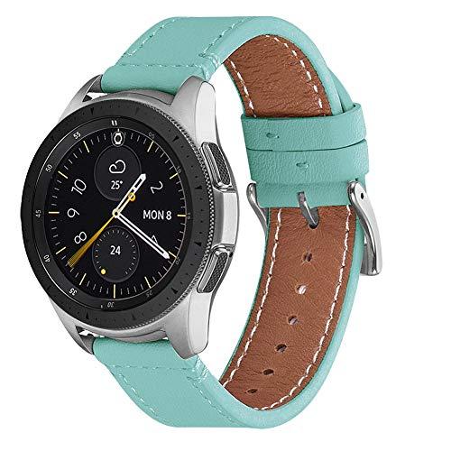 WFEAGL Kompatibel mit Samsung Galaxy Watch 46mm Armband/Gear S3 Frontier/S3 Classic/Huawei Watch GT/Watch 2 Classic,22mm Top Grain Leder Ersatzband (22mm,Tiffany+Silber Quadratische Schnalle)