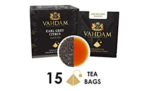 Vahdam Teas Grey Citrus Long Leaf Pyramid Earl Tea Bags - 15 piece