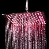 KAIBOR 30 * 30cm Luxus LED Einbau-Duschkopf Regendusche Deckenbrause Quadrat Überkopfbrause superflach Farbewelchseln nach Temperatur Vergleich